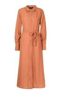 Womens Woven Tie Waist Maxi Shirt Dress - orange - M, Orange