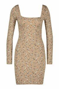 Womens Floral Print Long Sleeve Bodycon Dress - beige - 14, Beige