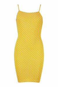 Womens Polka Dot Strappy Jersey Bodycon Dress - yellow - 14, Yellow