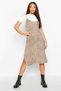 Womens Leopard Print Jersey Slip Midi Dress - brown - 14, Brown