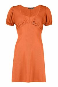 Womens Short Sleeve Rib Fit + Flare Mini Dress - orange - 16, Orange