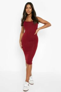 Womens Basic Square Neck Bodycon Midi Dress - red - 16, Red