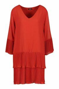Womens Woven V Neck Pleated Hem Shift Dress - orange - 16, Orange