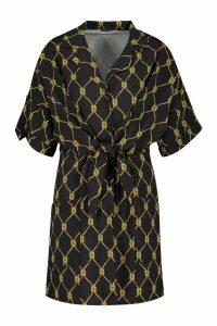 Womens Woven Chain Print Tie Front Shift Dress - black - 16, Black