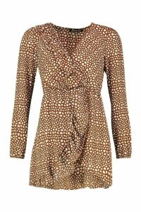 Womens Spot Print Ruffle Tea Dress - brown - 16, Brown