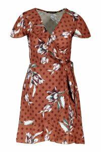 Womens Geo Print Wrap Ruffle Mini Tea Dress - brown - 16, Brown