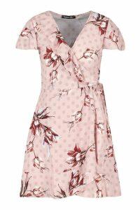 Womens Geo Print Wrap Ruffle Mini Tea Dress - Pink - 12, Pink