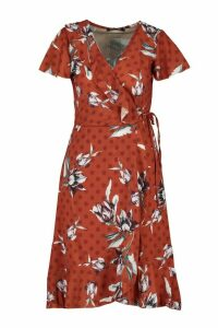 Womens Woven Floral Spot Mix Tea Dress Midi - yellow - 10, Yellow