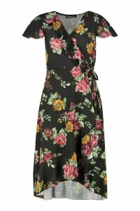 Womens Woven Floral Midi Tea Dress - black - 14, Black