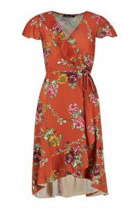 Womens Woven Floral Midi Tea Dress - yellow - 10, Yellow