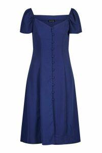 Womens Woven Sweetheart Neck Self-Fabric Button Midi Dress - navy - M, Navy