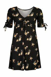 Womens Floral Print Rouched Tie Sleeve Swing Dress - black - M, Black