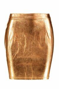 Womens Metallic A Line Mini Skirt - brown - 16, Brown