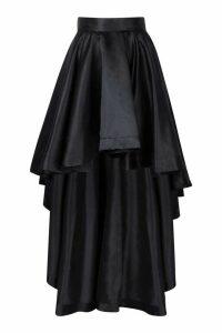 Womens Satin Dipped Hem Maxi Skirt - black - 16, Black