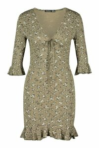 Womens Ditsy Print Tie Detail Bodycon Dress - green - 14, Green
