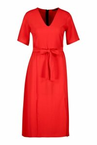Womens Ruffle Sleeve Belted Midi Dress - red - 14, Red