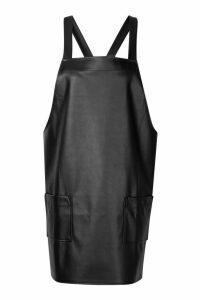 Womens Faux Leather Pinafore Dress - black - 16, Black