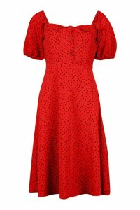 Womens Polka Dot Button Fron Midi Dress - orange - 16, Orange