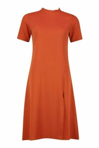 Womens High Neck Midi Dress - orange - 14, Orange
