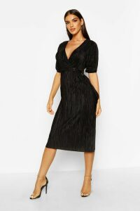 Womens Plisse Buckle Wrap Midi Dress - black - 12, Black