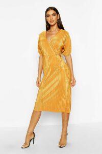 Womens Plisse Buckle Wrap Midi Dress - yellow - 8, Yellow