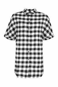 Womens Oversized Cuff Sleeve Check Shirt Dress - black - 14, Black