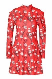 Womens Floral High Neck Puff Sleeve Swing Dress - red - 12, Red