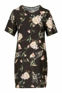 Womens Floral Print Short Sleeve Shift Dress - black - 12, Black
