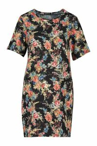 Womens Floral Print Short Sleeve Shift Dress - black - 16, Black