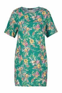 Womens Floral Print Short Sleeve Shift Dress - green - 14, Green