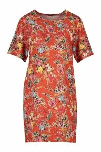 Womens Floral Print Short Sleeve Shift Dress - orange - 14, Orange