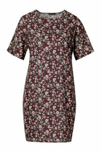 Womens Short Sleeve Floral Print Shift Dress - black - 14, Black