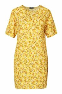 Womens Short Sleeve Floral Print Shift Dress - yellow - 14, Yellow