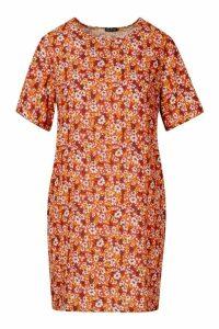 Womens Short Sleeve Floral Print Shift Dress - orange - 14, Orange