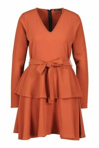 Womens Woven Belted Tiered Hem Skater Dress - orange - 14, Orange