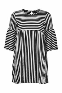 Womens Stripe 3/4 Sleeve Smock Dress - black - 14, Black