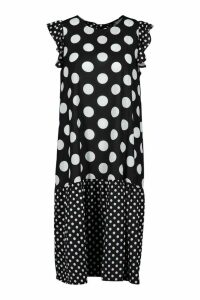 Womens Polka Dot Drop Hem Midi Dress - black - 12, Black
