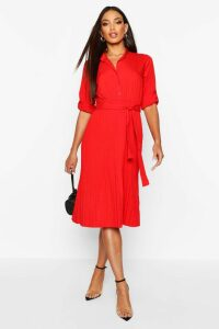 Womens Pleated Collarless Midi Skater Dress - red - 16, Red
