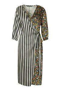 Womens Contrast Stripe Floral Wrap Midi Dress - black - 14, Black