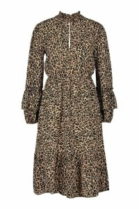 Womens Leopard Print Shirred Neck Keyhole Midi Dress - brown - 8, Brown