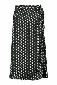 Womens Polka Dot Wrap Front Midi Skirt - black - 16, Black