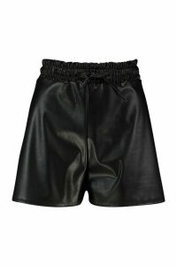 Womens Elasticated Waist Leather Look Shorts - black - 14, Black