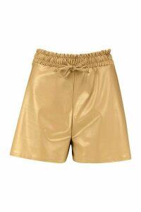 Womens Elasticated Waist Leather Look Shorts - beige - 16, Beige