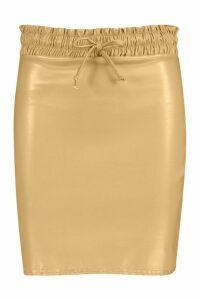 Womens Elasticated Waist Leather Look Mini Skirt - beige - 16, Beige