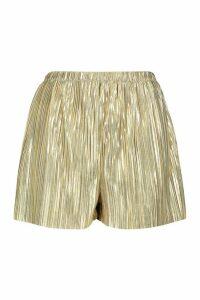 Womens Metallic Plisse Shorts - metallics - 16, Metallics