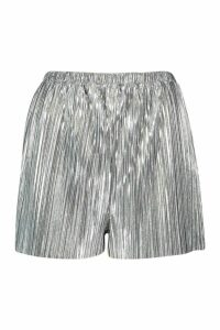 Womens Metallic Plisse Shorts - grey - 14, Grey