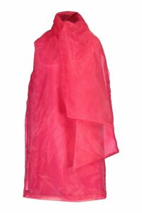 Womens Organza Sleeveless Pussybow Swing Dress - Pink - 16, Pink