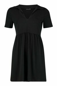 Womens Tiered Jersey Smock Dress - black - 16, Black