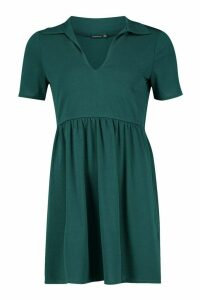 Womens Tiered Jersey Smock Dress - green - 12, Green
