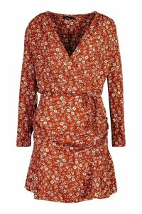 Womens Woven Ditsy Floral Ruched Frill Hem Tea Dress - orange - 10, Orange